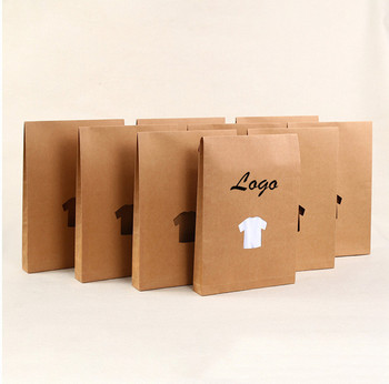 Custom Window Die Cut Brown Kraft Paper T Shirt Packaging Bag With Logo