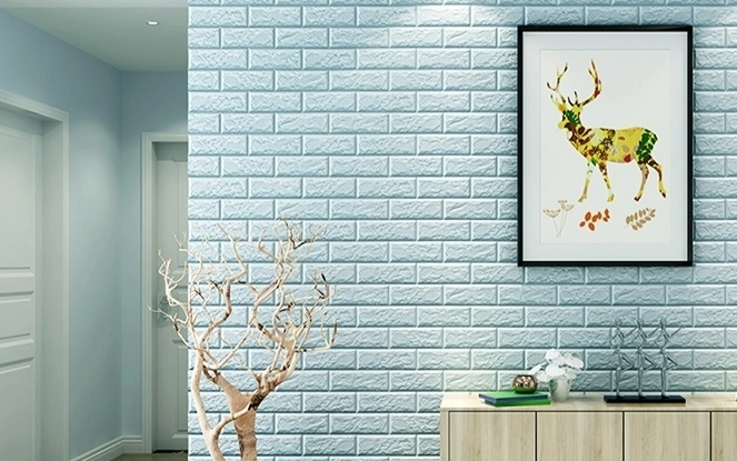 blue 3D  wallpaper  self adhesive wallpapers  Foam wall stickers