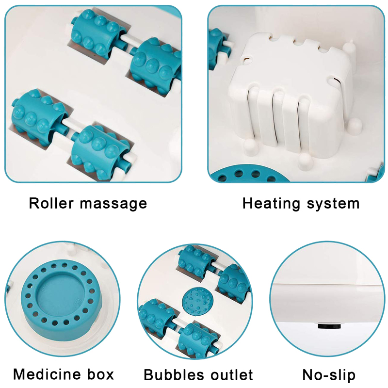 Customized Logo Stress Relieve Foot Bubble Spa Massager with 8 Shiatsu Rollers