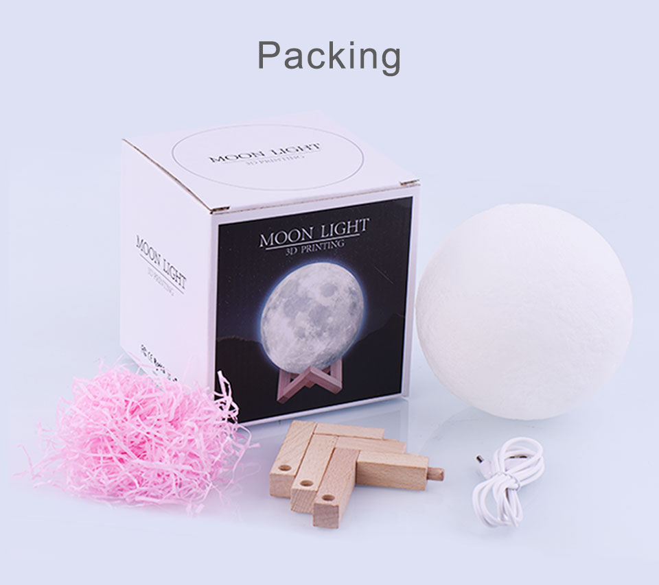 20cm Moon Lamp Light Night Light Light for Kids Gift for Women USB Charging and Touch Control Brightness 3D Printed Lunar Lamp