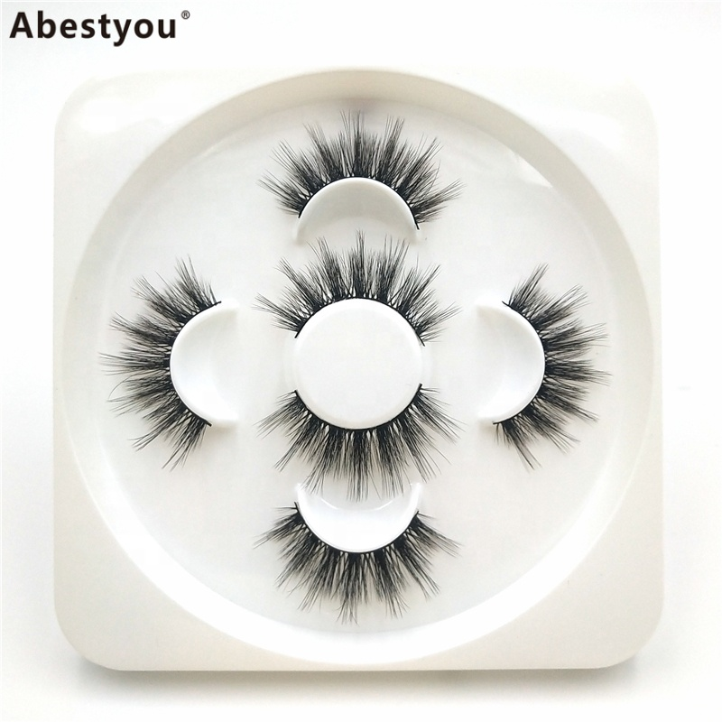 Abestyou 3 Pairs 25MM Black cotton band available OEM 3D mink strip eye lashes mink false eyelash in private package