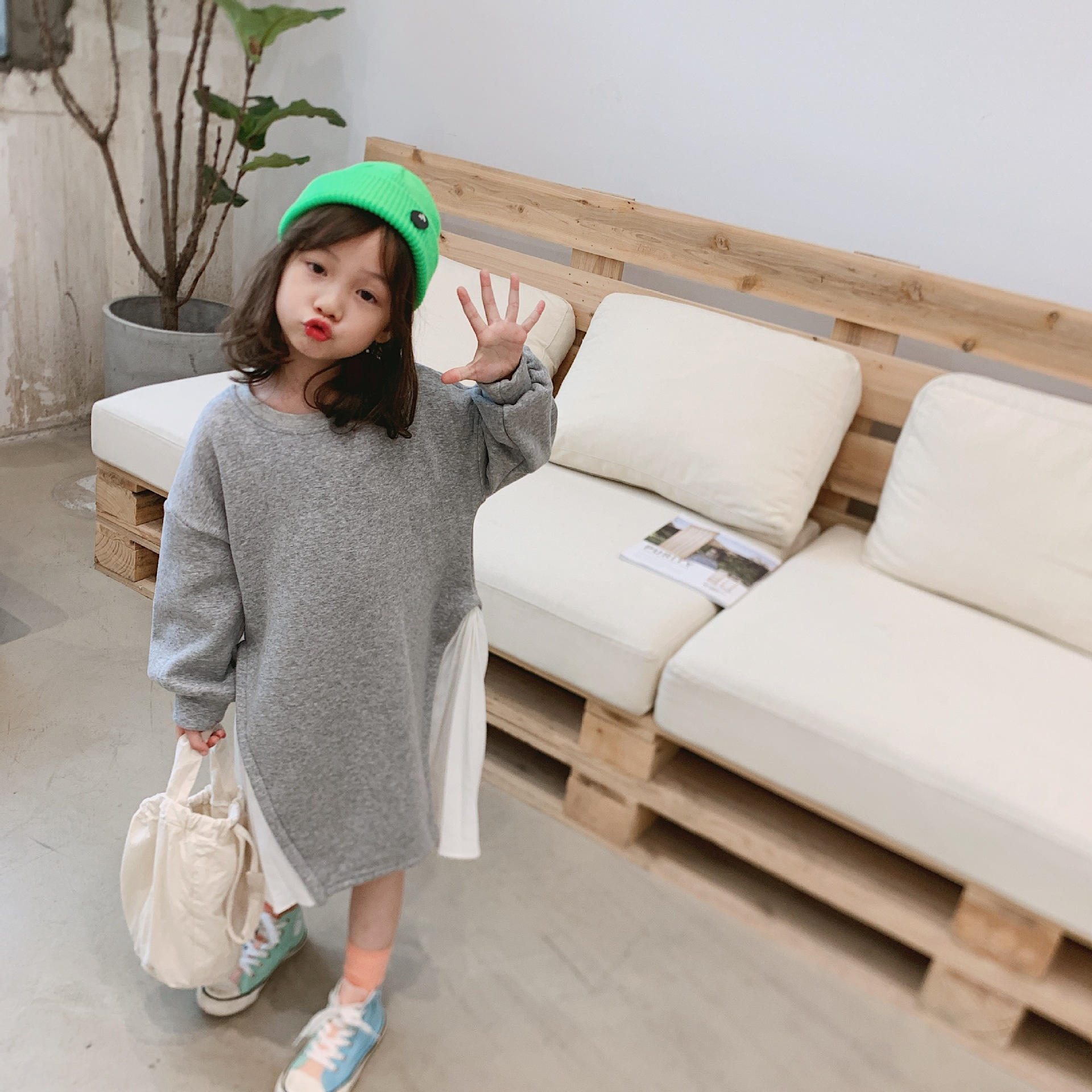 Korean style cute girls fashion long dress patchwork style kids pure cotton dresses