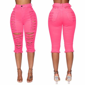 high waist pink knee length jeans ripped skinny denim pencil pant