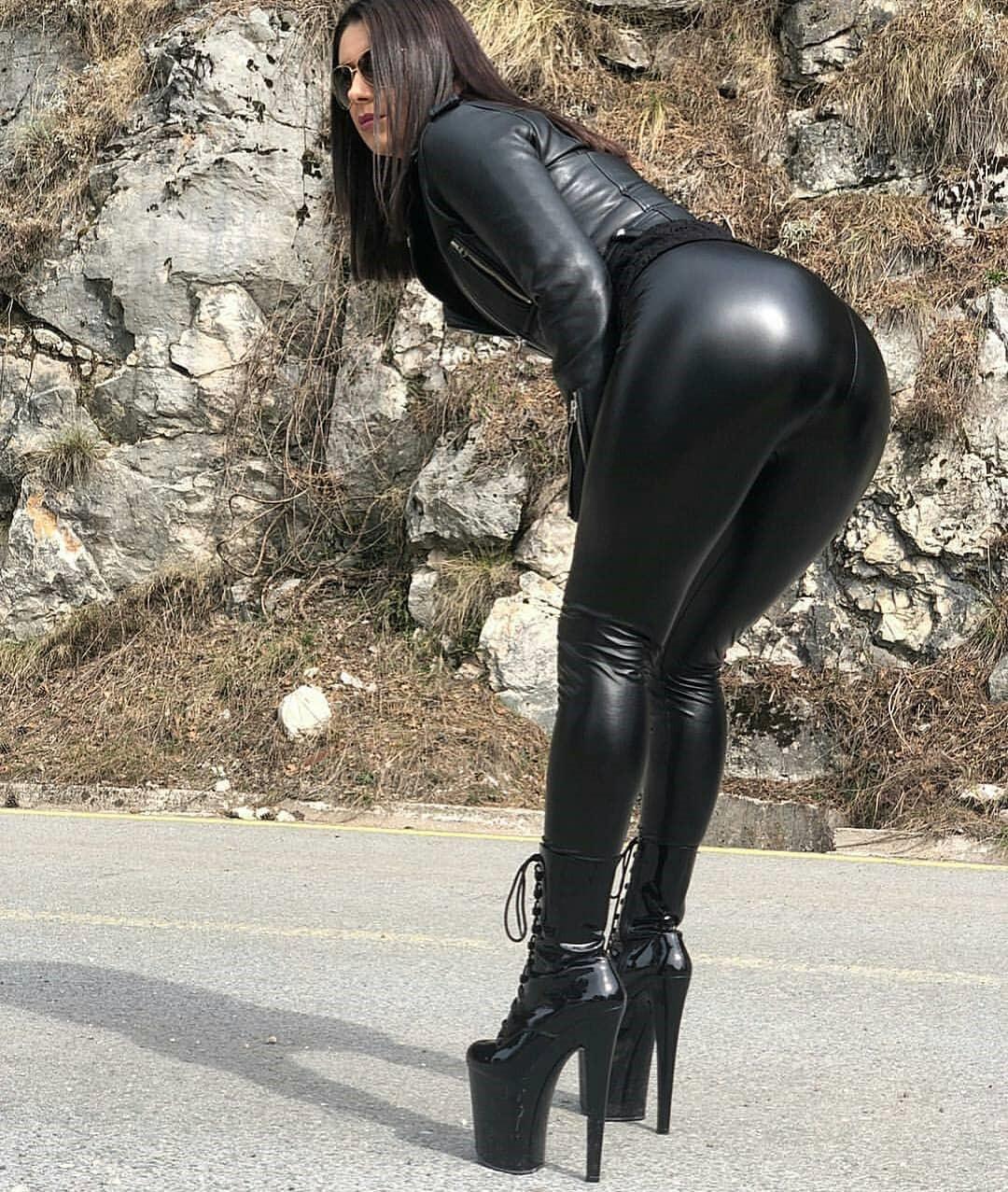 OEM หญิง legging Leggings หนัง Faux สีดำ