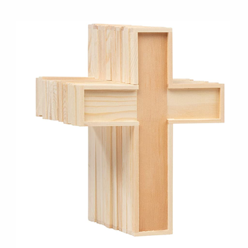 Classic home decorative unfinished craft wooden cross pine wood craft