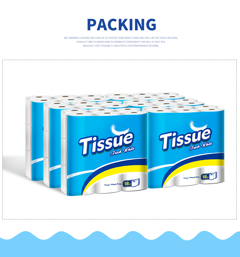 Wholesale 3 ply eco friendly water dissolving toilet paper, toilet paper bathroom tissue rolls, 6 Pack of 18 Family Rolls