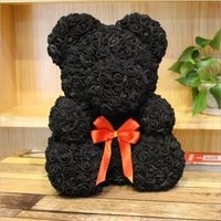 AI-249 Valentine's Day Gift Handmade Flower Black Rose Bear For Sale