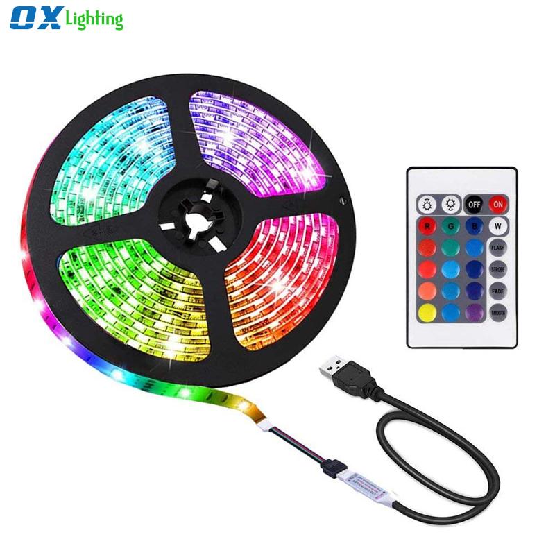 USB Led Strip 5v RGB 5050 TV Background Backlight Lights Color Changing Waterproof Computer Led Strips 1M 2M 5m Remote Control