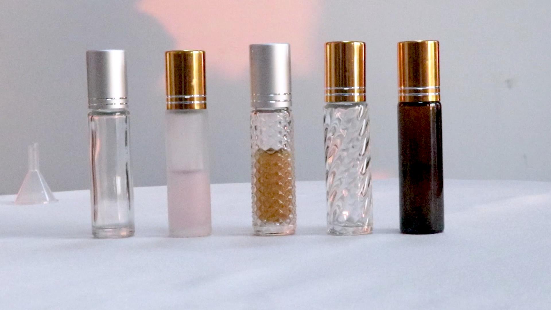 Huile de parfum Mat Verre Bouteille À Bille Mini 6ml 10 ml En Verre Transparent Dépoli 10 ml Huile Essentielle Rouleau bouteille