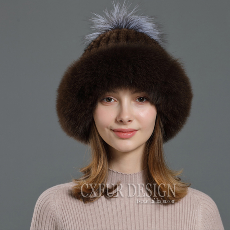 CX-C-93K Custom Animal Cap Women Real Sliver Fox Fur Pom Pom Hat Genuine Mink Fur Hats