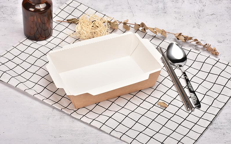מתכלה takeaway חד פעמית מיכל קראפט נייר מזון מגשי עם מכסה PET