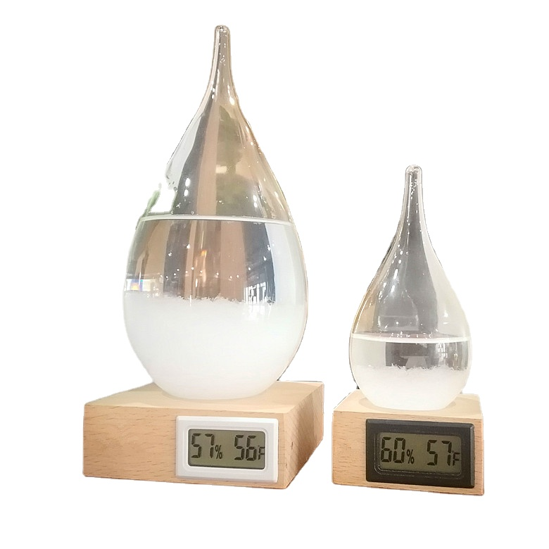 glass Storm Glass Weather Predictor bottle with Thermometer hygrometer
