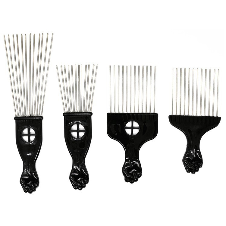 Wholesale Popular Plastic Black Stainless <strong>Steel</strong> Pins <strong>Hair</strong> Pick <strong>Comb</strong>