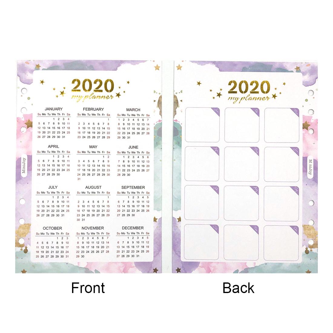 Ежедневный индексный разделитель, 2020 год, календарь, спираль, блокнот, наполнитель, бумага A5A6, ежемесячный планировщик, органайзер, школьные...(Китай)