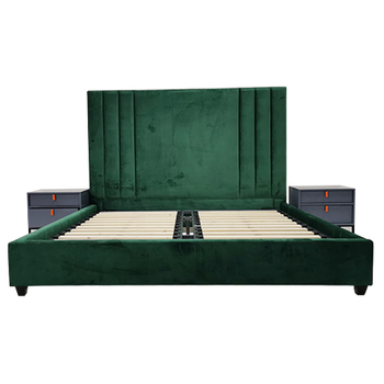 Modern house furniture solid wooden upholstered double slatted bed frame fabric velvet super king size bed for couples