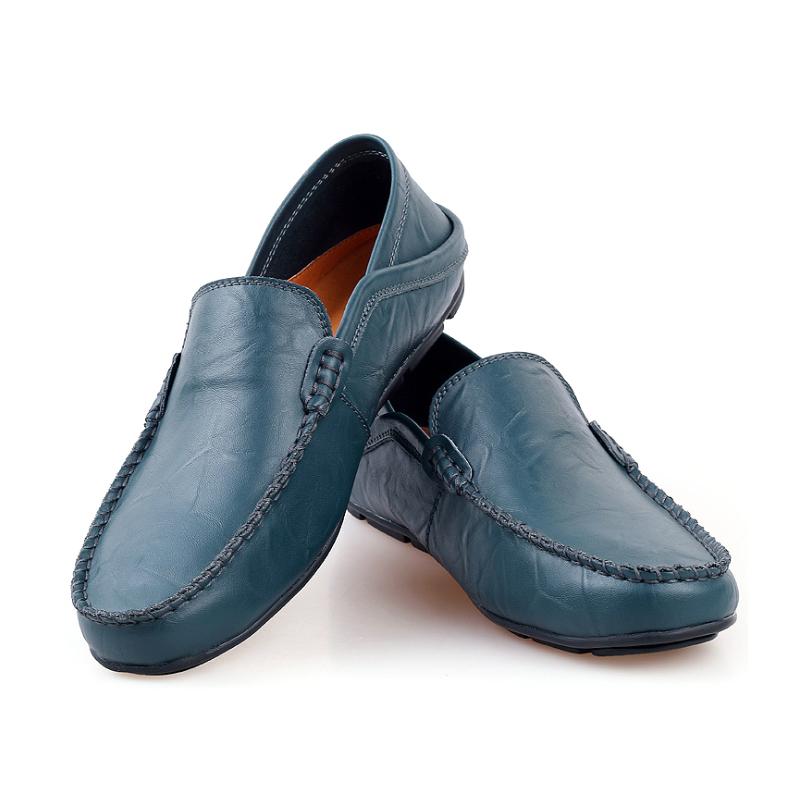 Caminar al aire libre transpirables Slip en cuero genuino Tenis zapatillas de deporte de gran tamaño Mocassin mostrar zapatos casuales para Hombre Zapatos