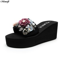 Vertvie/повседневные женские шлепанцы; модная женская обувь на высоком каблуке, украшенная цветами и жемчугом; пляжные шлепанцы без задника(Китай)