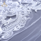 Lucky Goddness High quality factory voile bridal 3d flower embroidered wholesale african lace fabrics for wedding dress