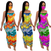 2020 Dropship Summer Sexy Sleeveless Dresses Ladies Tie Dye Slim Sling Maxi Dress