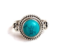 Wholesale Silver 92.5 Women Ring with Natural Stone Sterling Silver 92.5 Material Type Stone Ring Turquoise Ring