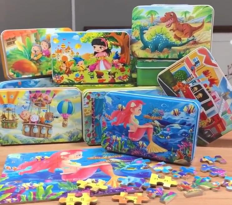 Personalizado 60 Peças Caixa de Ferro Crianças Quebra-cabeças De Madeira Crianças Brinquedo Educativo Cedo O Sereia Da Criança Dos Desenhos Animados Jigsaw Puzzle