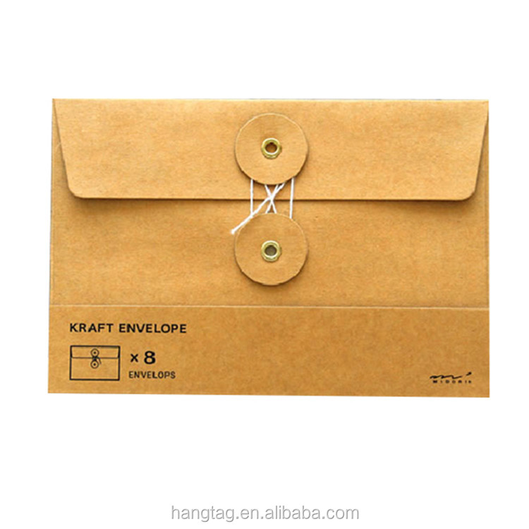 Black Business Paper String Tie Closure Envelope For Clothes