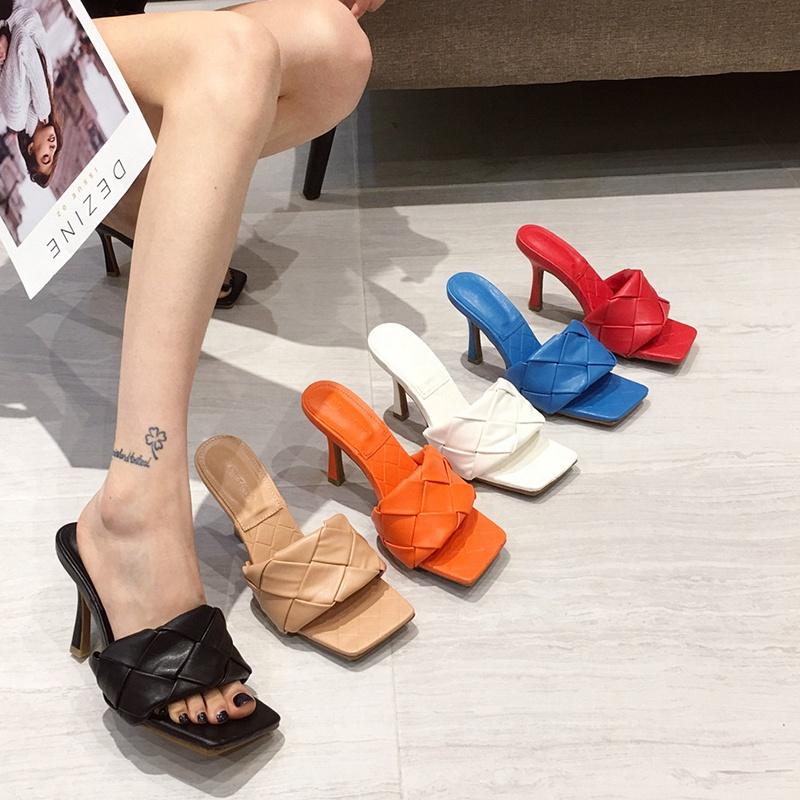 Chaussures ouvertes pour femmes, sandales à talons aiguilles, noir et blanc, Mules, tendance, été Offres Spéciales