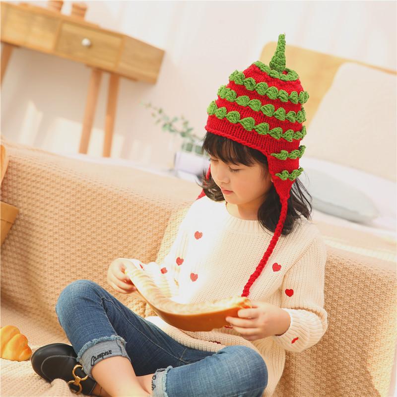 Herfst en winter nieuwe kinderen wol caps dragon fruit vorm breien oorbeschermers warm baby INS netto rode hoed