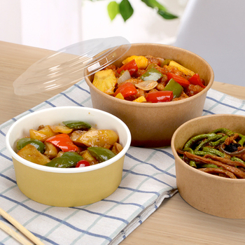 1500 ml disposable food container brown kraft paper bowl soup salad bowl with lid (Customized Acceptable)   300