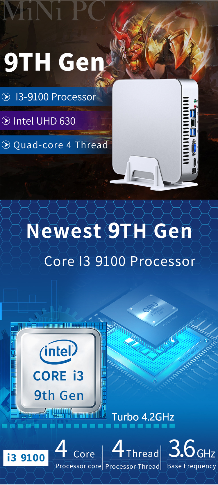 커피 호수 인텔 i3 9100 쿼드 코어 4.2GHz 클라우드 터미널 PC 서버 UHD 그래픽 630 작은 비즈니스 데스크탑 컴퓨터 게이머