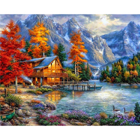 5D DIY Diamond Mosaic Lake Cottage Needlework Cabin Scenic Diamond Embroidery Full Drill Cross Stitch Wall Art Diamond Painting