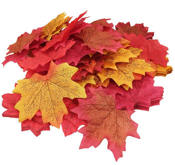 500PCS Artificial Fabric Silk Maple Leaf Mixed Fakes Lifelike Autumn Leaf for Halloween Party Festival Table Decorations