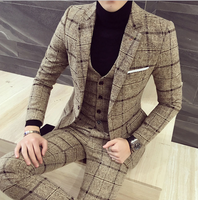 Autumn Winter British Latest Coat Pant Designs Blue Mens Suit Thick Slim Fit Plaid Wedding Dress Tuxedos 3 Piece Suits Men