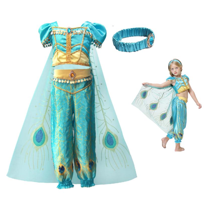 Jasmine Costume Kids Girls Belly Dancer Dress Aladdin Lamp Princess Dress Top Pants cape FOR Girl Halloween Costume Kids фото