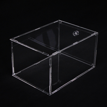 Custom transparent clear foldable drop front acrylic plastic detachable sneaker box high-heel shoes display box for shop stores