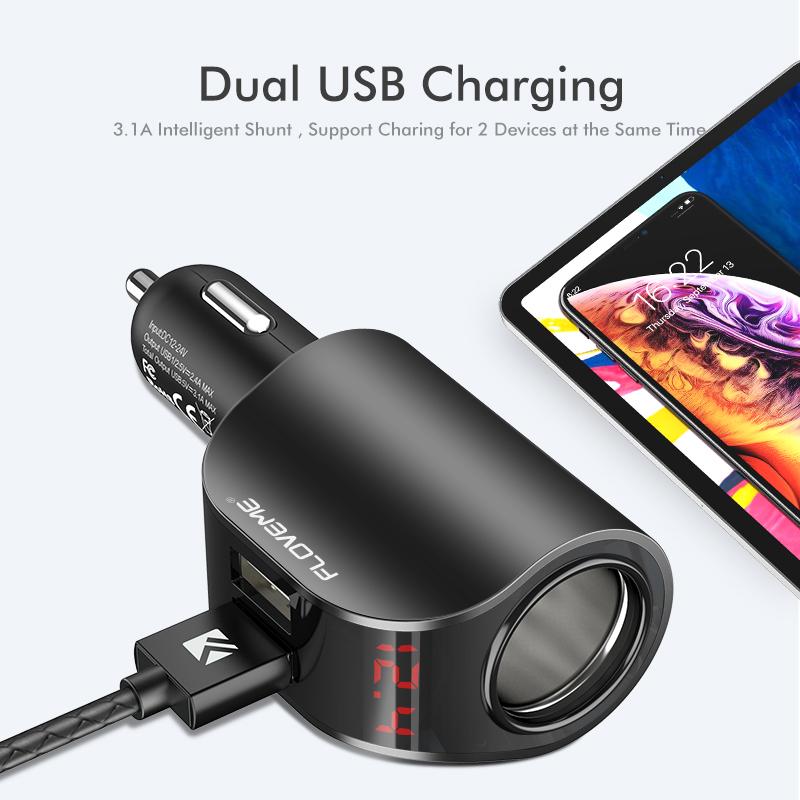 Бесплатная доставка портативный мобильный телефон зарядки Мини прикуривателя дизайн 3.1A двойной порты Usb Автомобильное зарядное устройство со светодиодной для смартфонов