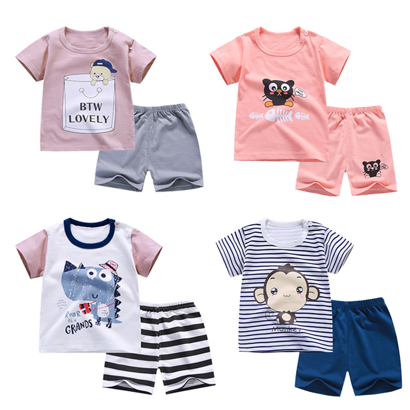 12 <strong>designs</strong> <strong>Girls</strong> and boys Clothes sets Cotton children clothes baby Short sleeve shorts suit Kids clothes