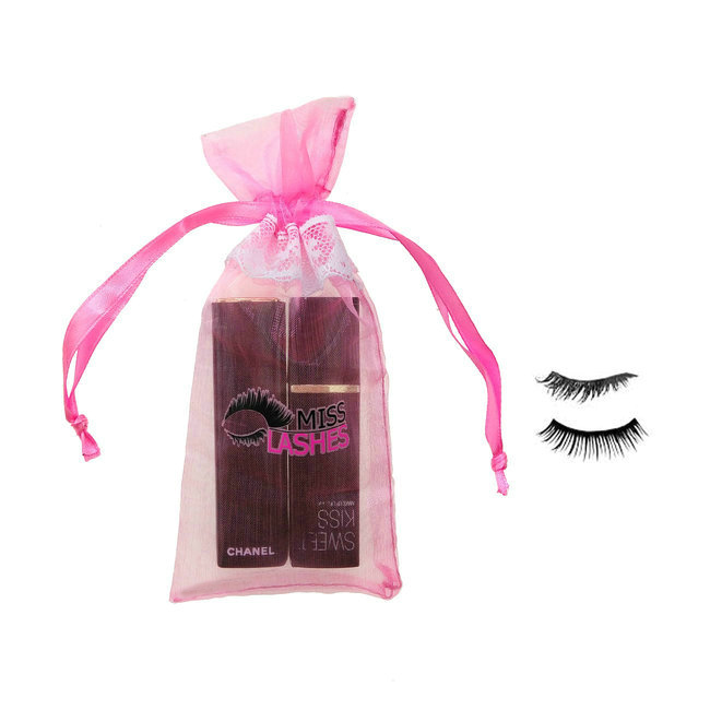 custom organza fabric cosmetic lashes pink bag with white lace