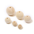 4-40mm Natural Color Round Ball Wooden Loose Spacer Beads For Jewelry Making