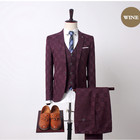 3-Piece Stylish Plaid Design Men Suits Slim Fit Wedding Business Gentlemen Tuxedo Suits For Men