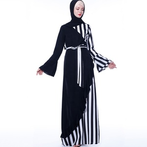 Arabic Abaya Burqa 2019 Muslim Women Clothing Flared Sleeves Matching Stripes Lace-Up Dress Abaya Gowns In Stock