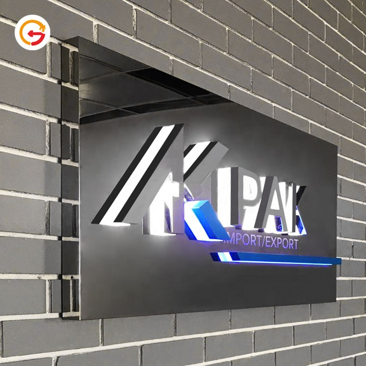 JAGUARISGN Manufacturer Custom Polished Stainless Steel Company Name Logo Illuminated Sign Board Retroiluminado Letra