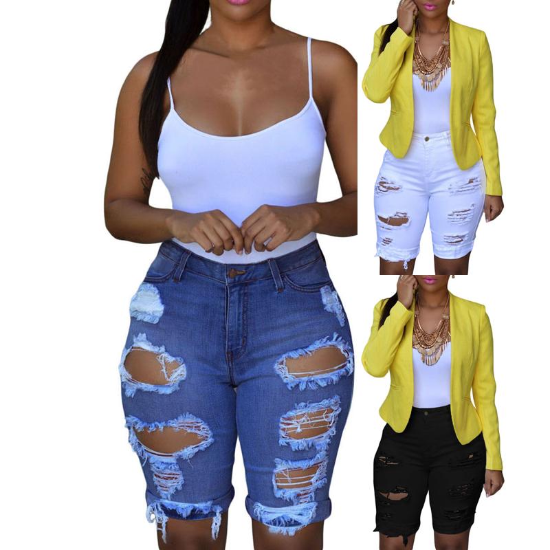 2020 Wholesale Cheap Blue Destroyed Bermuda Jeans Denim Shorts For Women