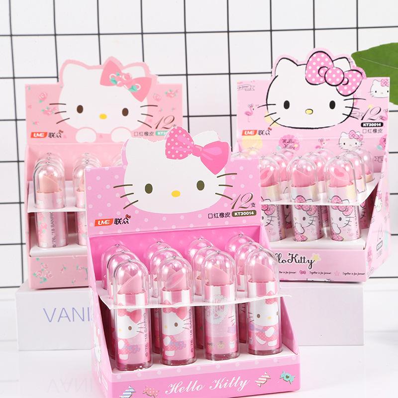 TOPSTHINK Hello kitty child cute stationery kawaii cute cartoon character TPR novelty lipstick pencil eraser