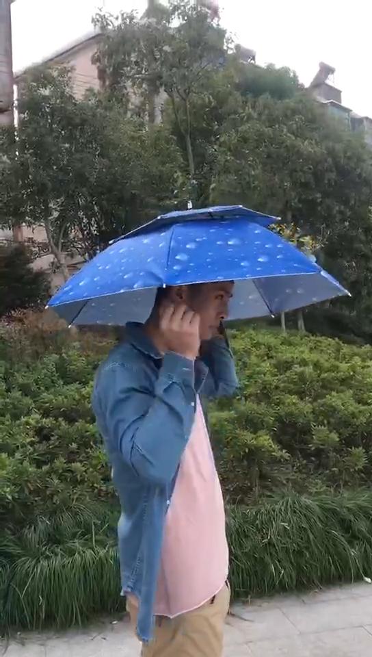 77cm double windproof head wearing umbrella outdoor sunscreen UV fishing umbrella cap