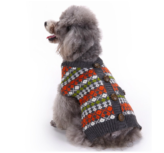 Christmas Dog Striped Sweater Pet Clothes British Style Pet Costume Dogs Thickening Warm Buttons Sweater Cute Autumn Winter
