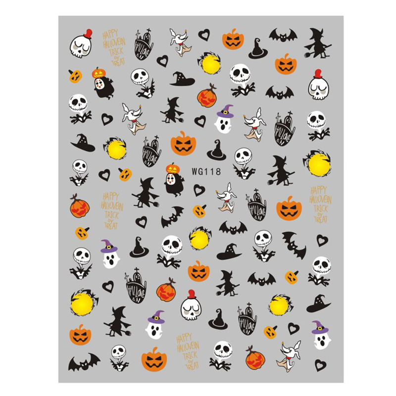 25 bags for options 3d halloween <strong>nail</strong> <strong>sticker</strong> mixed pattern each bag