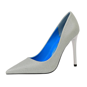 9511-20 bigtree women's shoes sexy nightclubs slim high heels shiny female stiletto super high heel shallow mouth pointed shoes