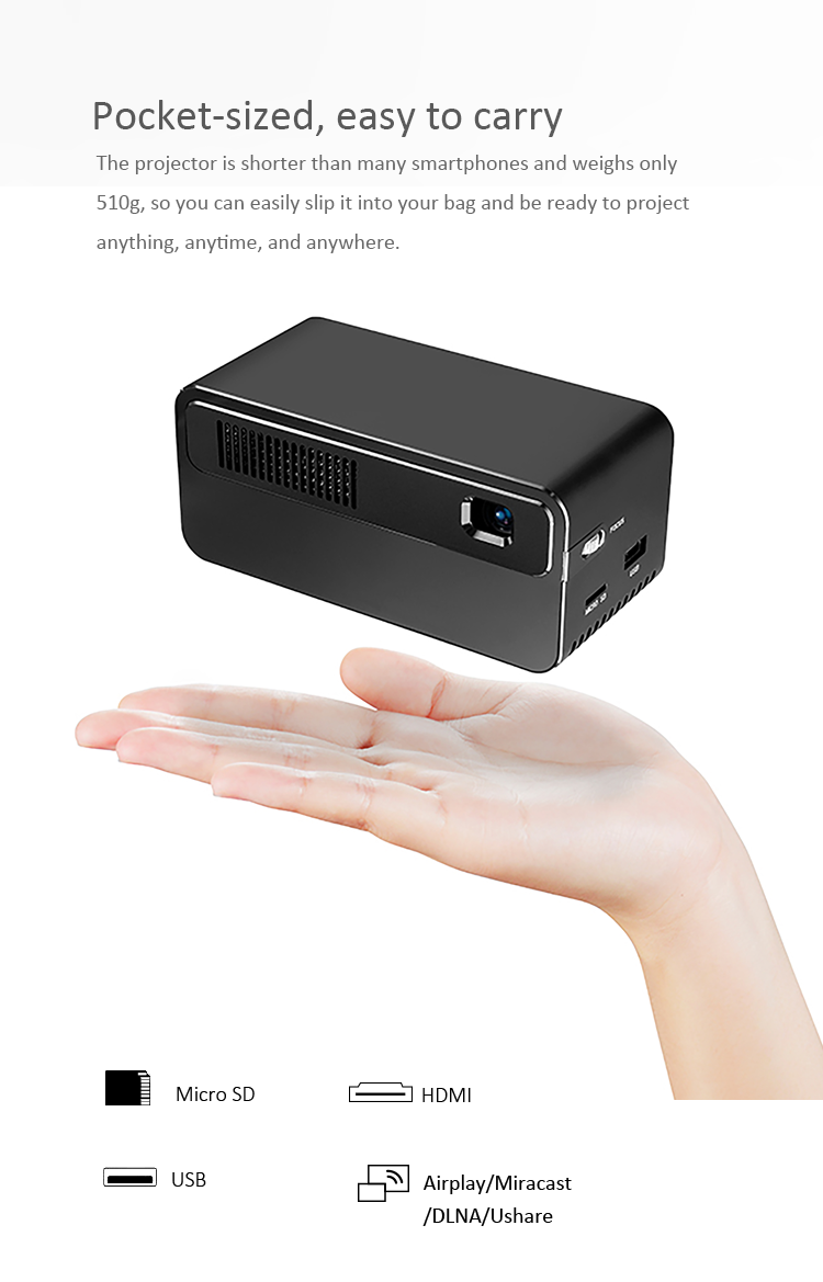 Full HD Android DLP LED Projector 1080P Portable Mobile Pocket Home Theater Dual Wi-Fi Bluetooth 5 Speaker