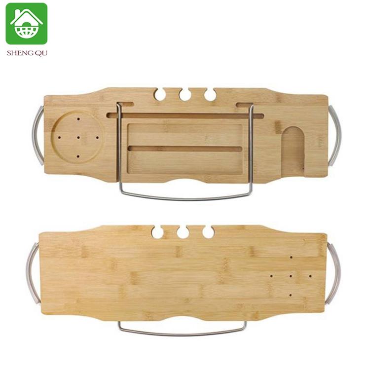 Adjustable Bamboo Bathtub Caddy Tub Tray Wholesale And With Extend Side, Bathtub Caddy Organizer Bath Tray For Tub